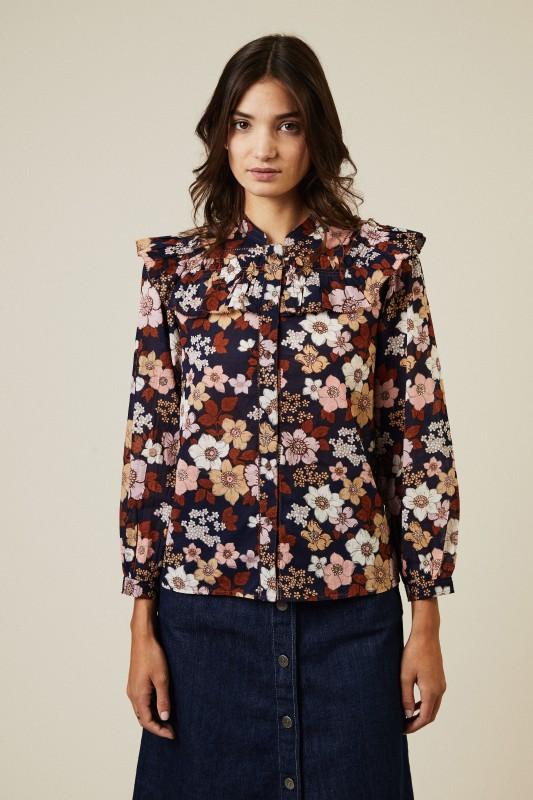 Baumwoll-Seidenbluse mit floralem Print Multi