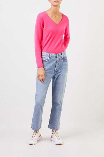 Cashmere pullover with v-neck Pink