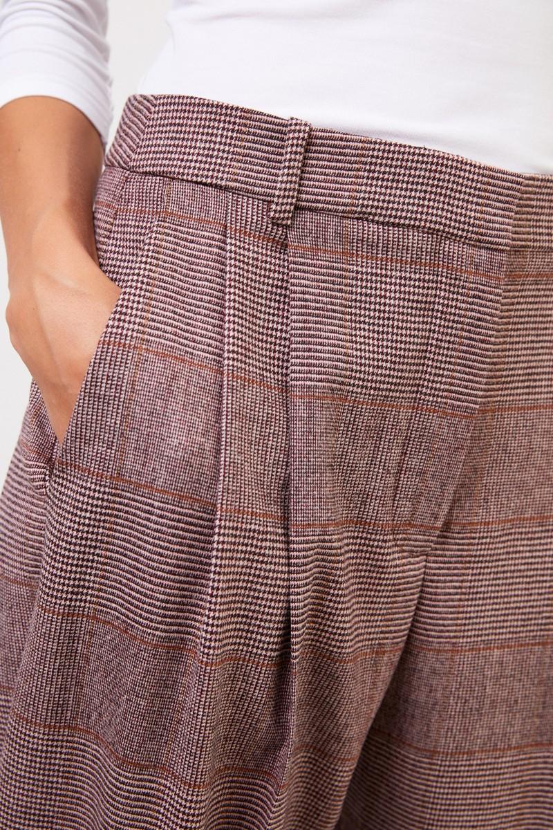 Stella McCartney Woll-Bundfaltenhose mit Glencheck Bordeaux