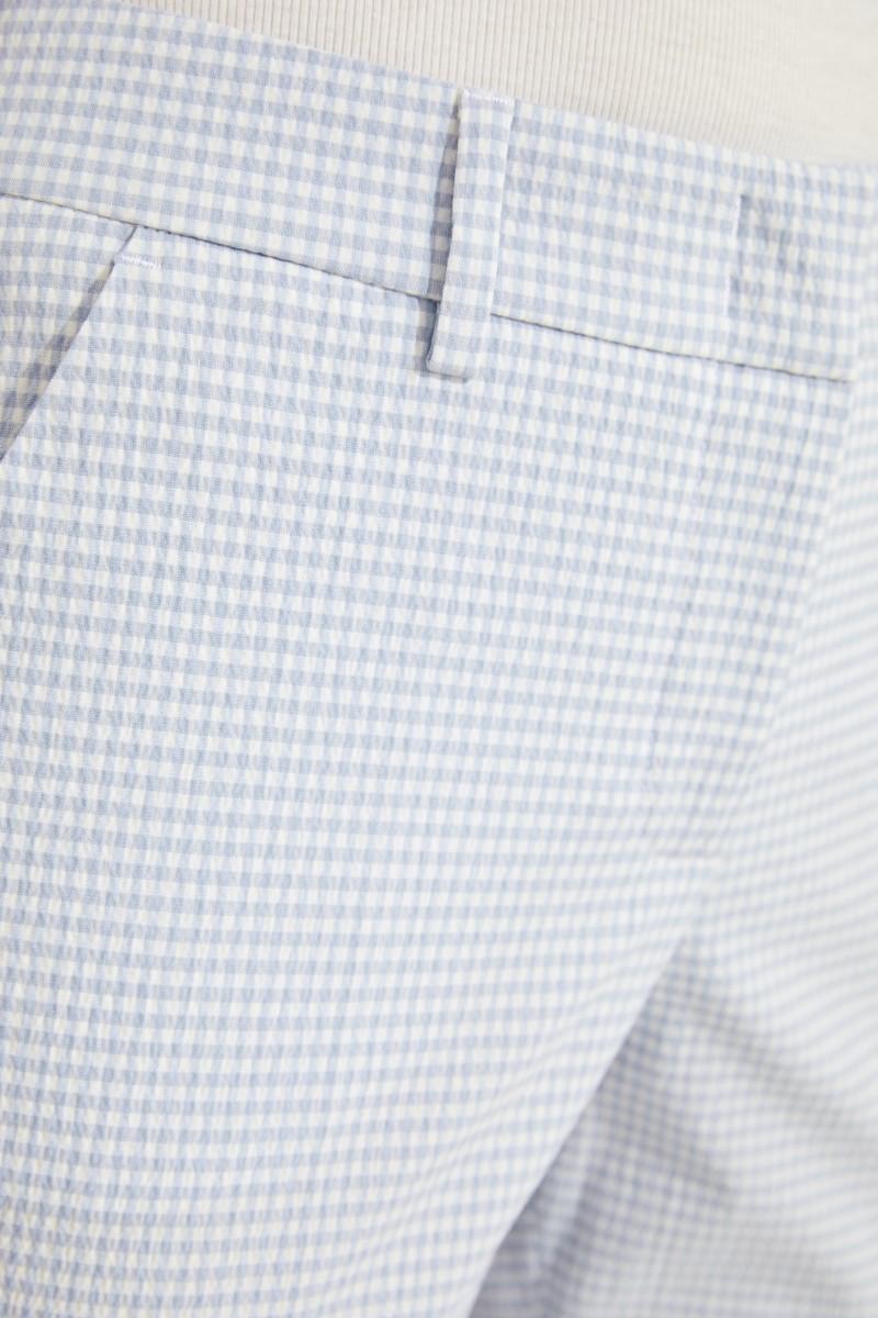 Karierte Baumwoll-Hose Hellblau/Weiß