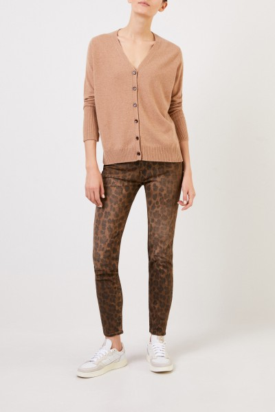 Allude Cashmere cardigan with v-neck Camel