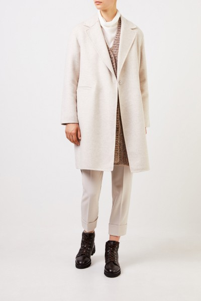 Fabiana Filippi Classic Wool Cashmere Coat Beige Melange