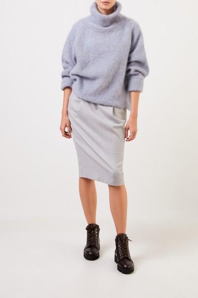 Fabiana Filippi Wool pencil skirt with elastic waistband Light Grey