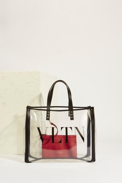 Shopper 'VLTN' with leather details Transparent/Black