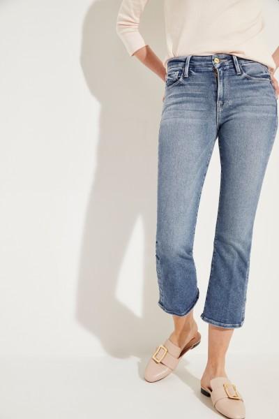 Jeans 'Le Crop Mini Boot' mit Druckknöpfen Blau