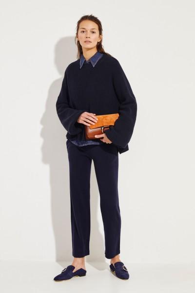 Baumwoll-Pullover mit verkürzter Front Marineblau