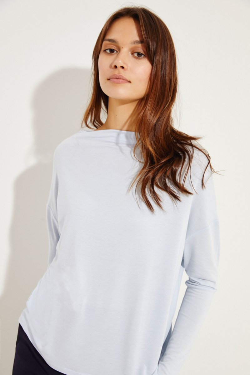 Langarm-Shirt mit U-Boot Kragen Blau