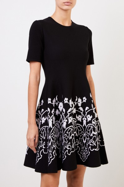 Oscar de la Renta Knitted dress with floral print Black/White