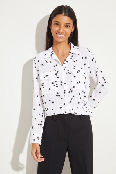 Printed silk blouse 'Slim Signature' White/Black