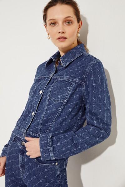 Jeansjacke mit Logo-Aufdruck Blau