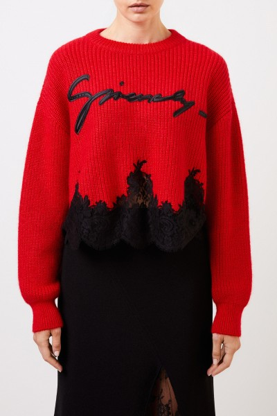 Givenchy Mohair-Pullover mit Spitzendetails Rot/Schwarz