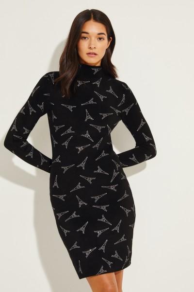 Turtleneck dress with Eiffel Tower motif Black