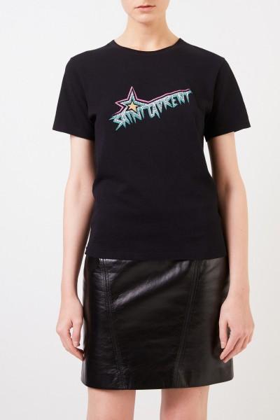 Saint Laurent T-Shirt mit Logoapplikation Schwarz