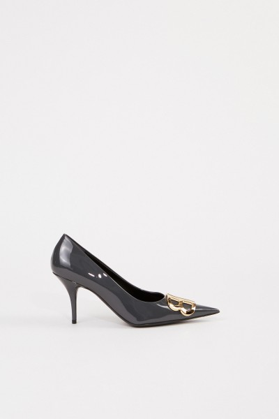 Balenciaga Pointed patent leather pump with logo Grey