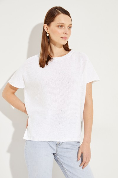 Baumwoll-Leinen-Pullunder mit Pailletten Weiß