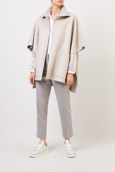 Fabiana Filippi Wool cashmere cape with sequin details Beige