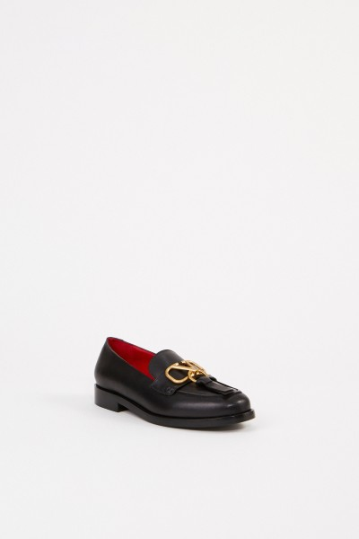 Valentino Leather Loafer with V logo Black