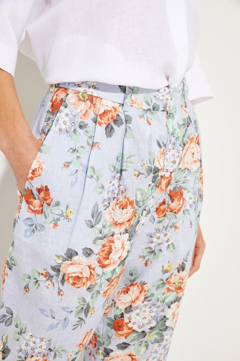 Leinen-Hose mit floralem Print Blau