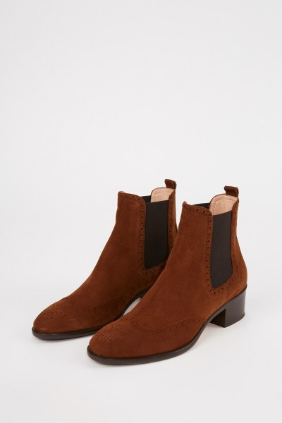 Unützer Patterned suede leather chelsea boot Cognac