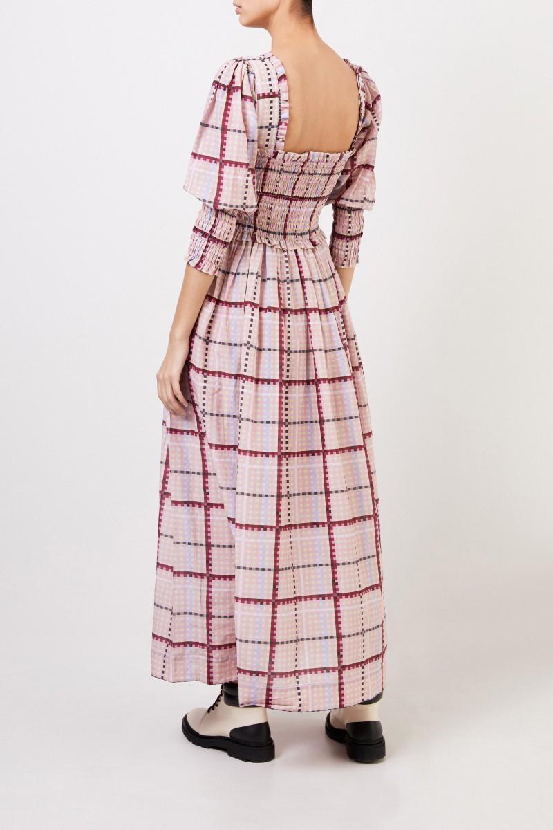 Ganni Langes Baumwoll-Seidenkleid mit Karomuster Multi
