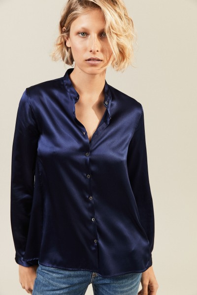 Seidenbluse 'Connies' Blau