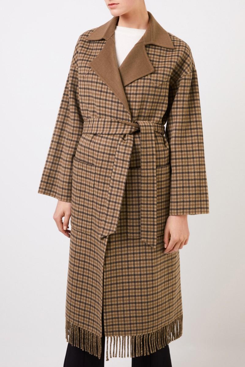Nanushka Wool-silk-coat 'Alamo' with check Brown/Multu