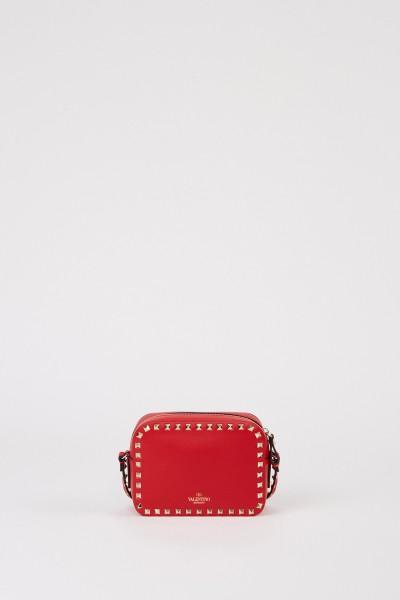 Valentino Umhängetasche ' Rockstuds Camera Bag' mit Nietenbesatz Rot