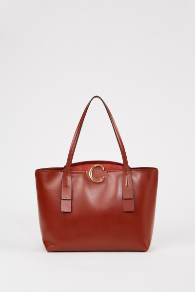 Medium Shopper with Zipper Sepia Brown
