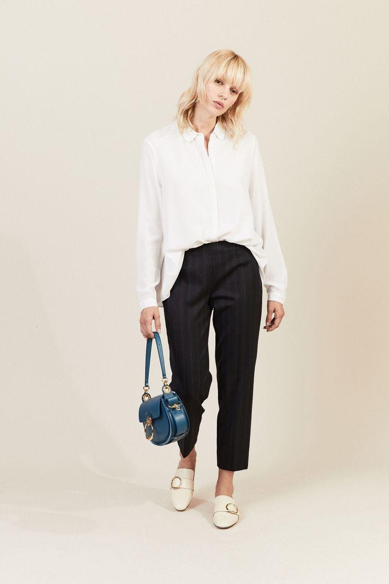 Woll-Hose 'Audrey' mit Streifen Blau
