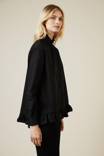Baumwoll-Bluse mit Rüschendetails Schwarz