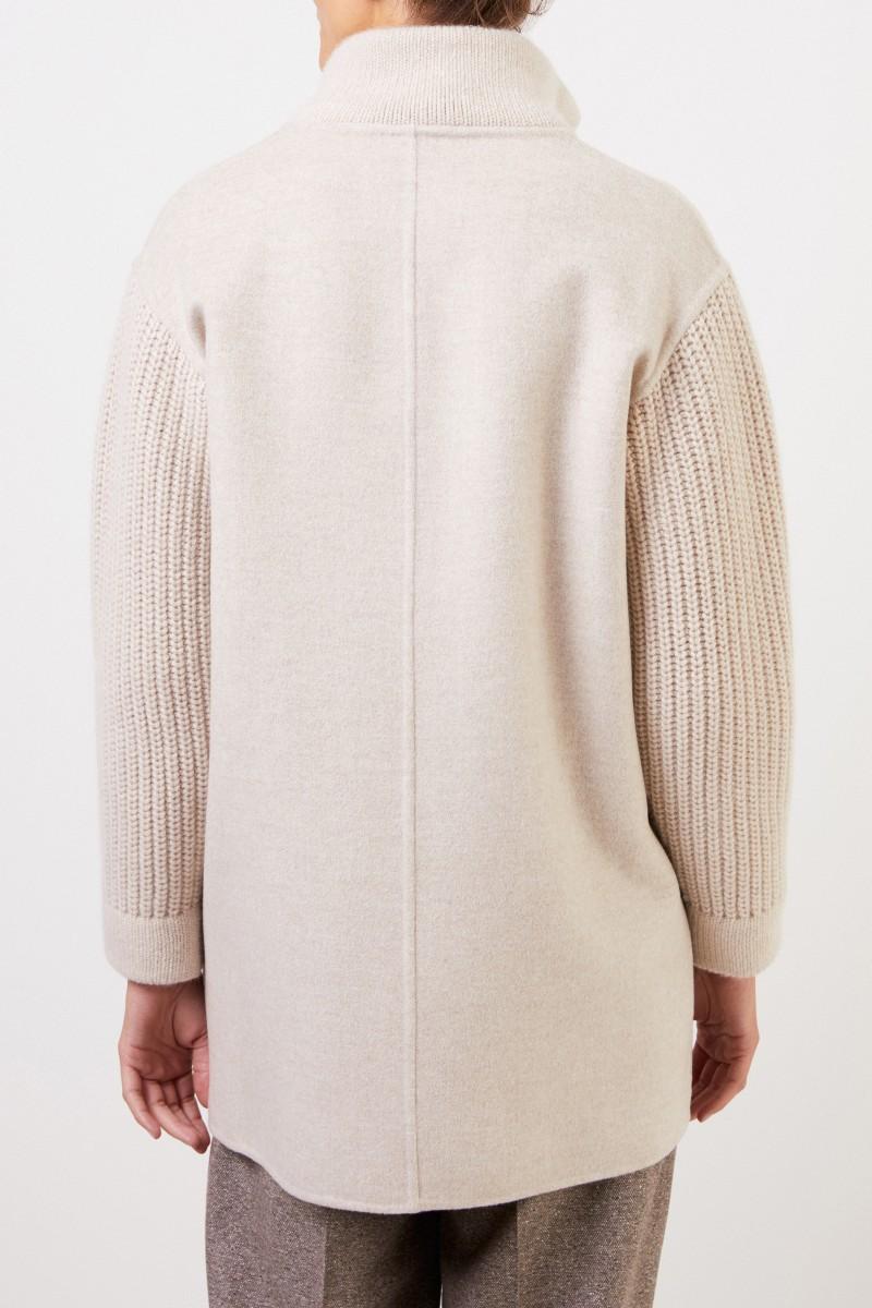 Manzoni 24 Woll-Cashmere-Mantel mit Strickdetails Beige
