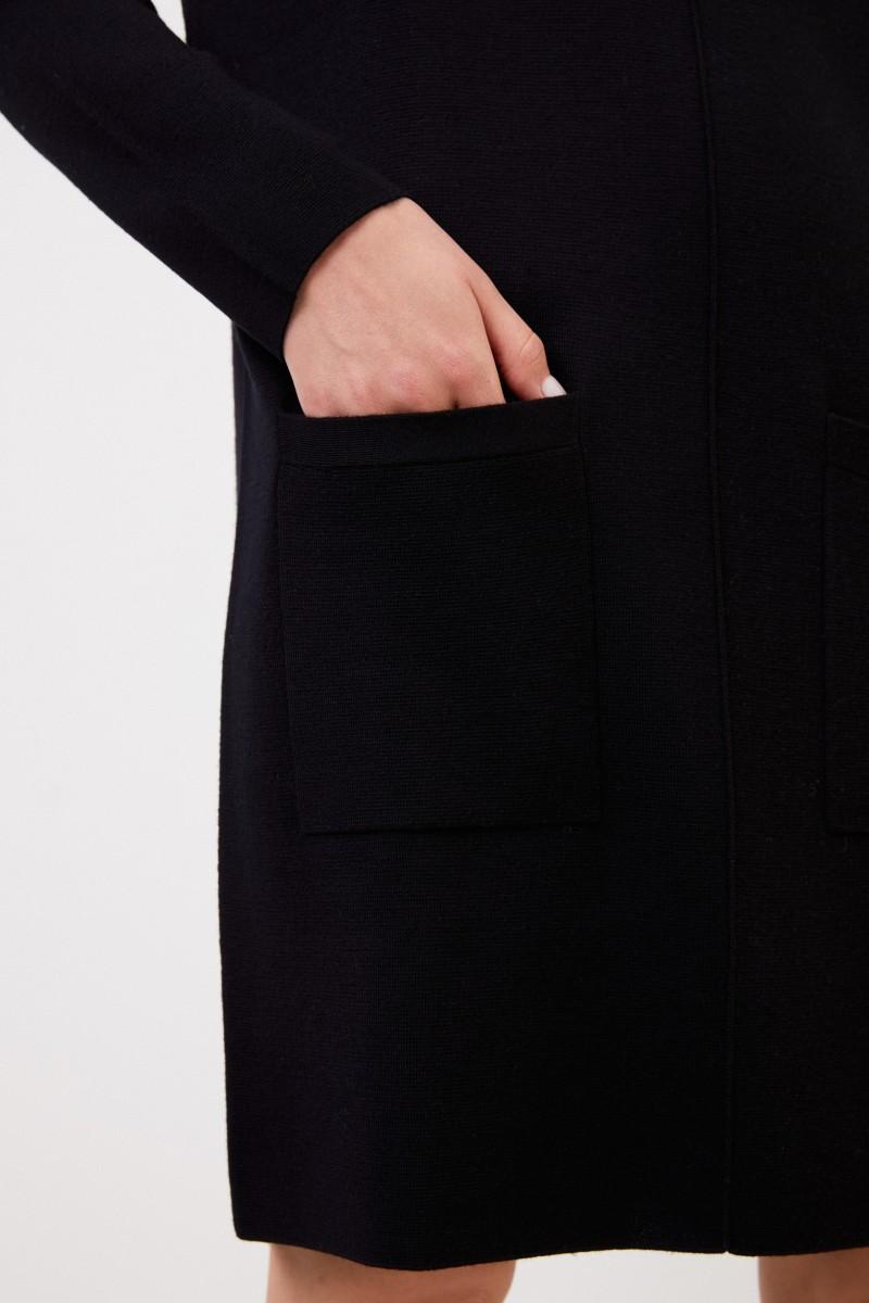 Klassisches Woll Strickkleid Schwarz