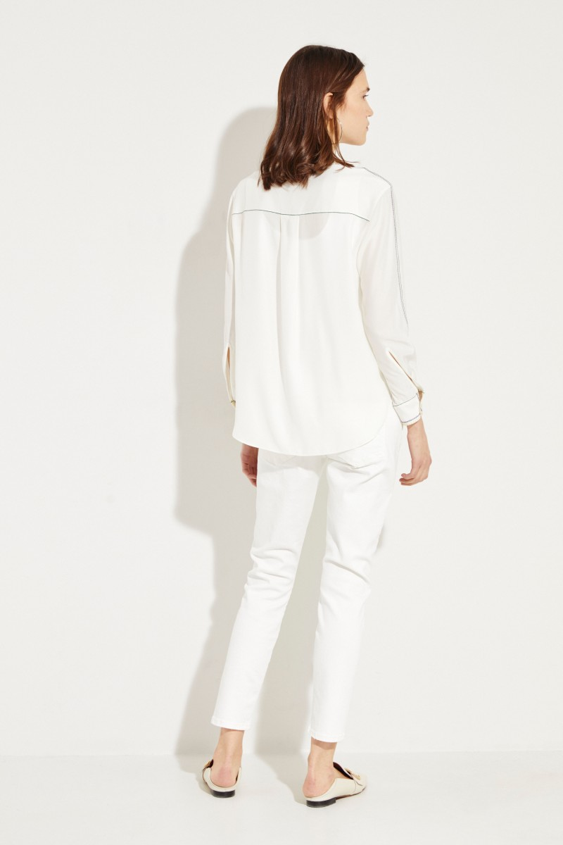 Seiden-Bluse 'Anika' mit Stickerei Weiß