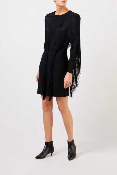 Stella McCartney Short dress with fringes Black
