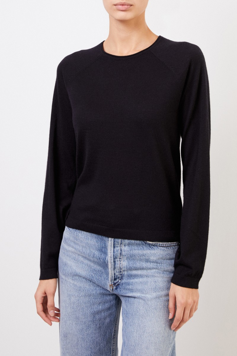 Co Cashmere-Pullover mit Puffärmeln Schwarz