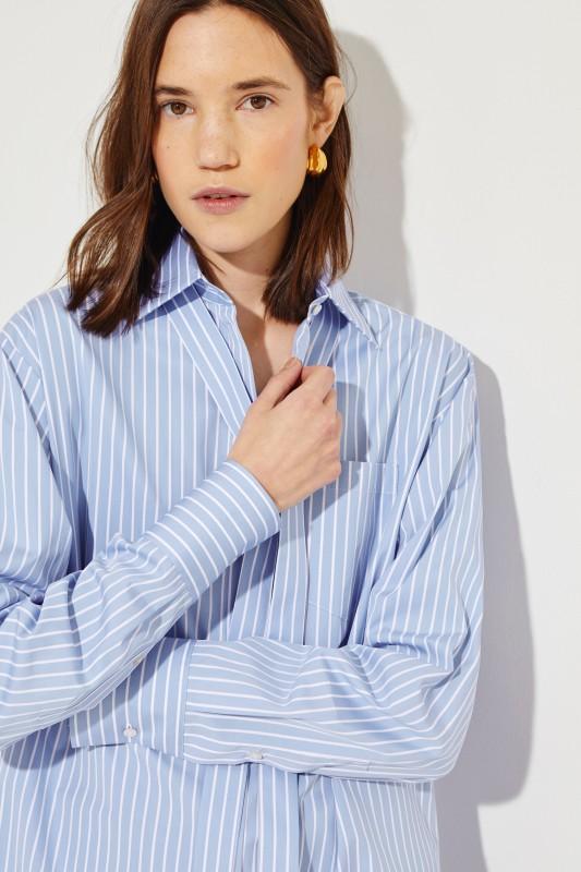 Gestreifte Oversize-Bluse Marineblau/Weiß