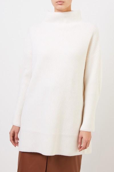 Co Woll-Cashmere-Pullover mit Hornknöpfen Crème
