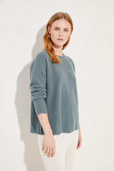 Woll-Cashmere-Pullover mit Lochmuster Salbei