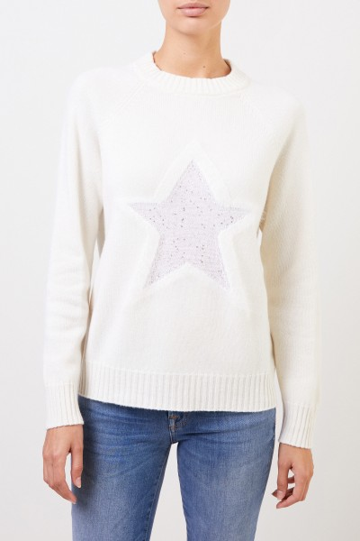 Lorena Antoniazzi Wool pullover with star detail Cream