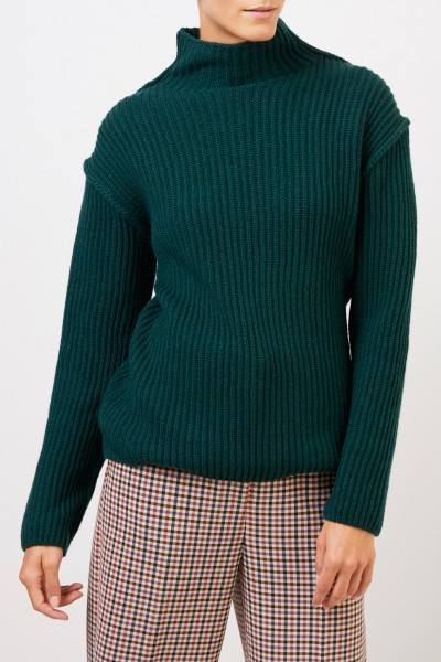 Tory Burch Wool Cashmere sweater with turtleneck Green