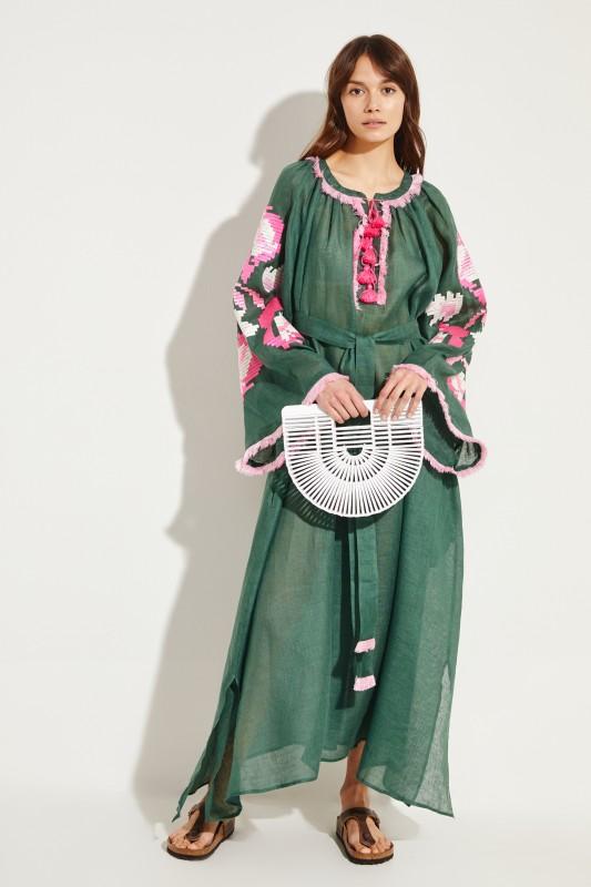 Leinen-Maxikleid 'Daniela' mit Stickerei Grün/Pink