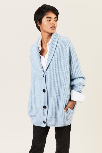 Oversize Cashmere-Cardigan Blau