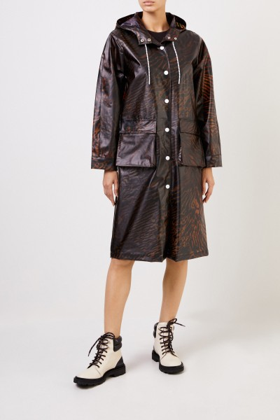 Ganni Coat 'Biodegradable' with tiger pattern Brown
