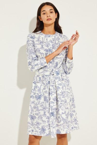 Kurzes Kleid mit Print Blau/Weiß
