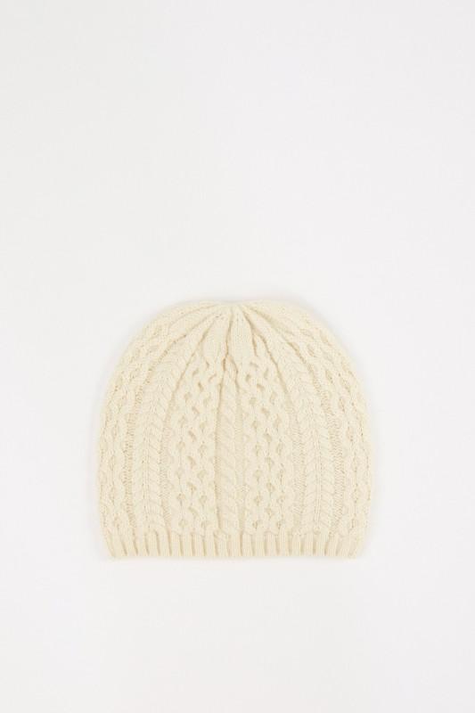 UZWEI Cashmere-Mütze mit Zopfmuster Hellgelb