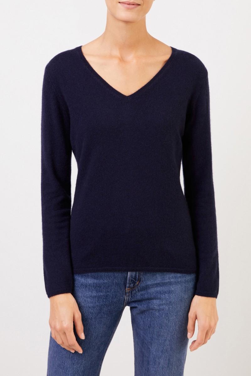 Uzwei Cashmere-Pullover mit V-Neck Marineblau