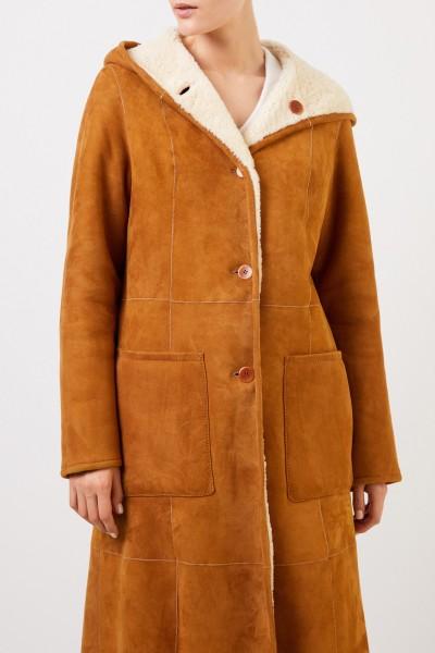 UNGER Reversible Lambskin Coat with Hood Camel/Beige