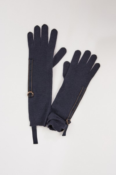 Brunello Cucinelli Cashmere gloves with pearl details Navy Blue