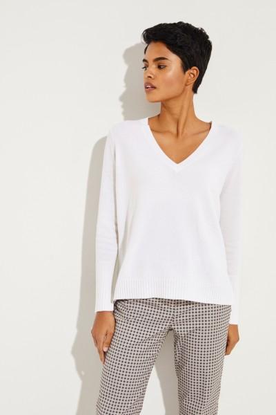 Cashmere-Pullover mit V-Neck Weiß