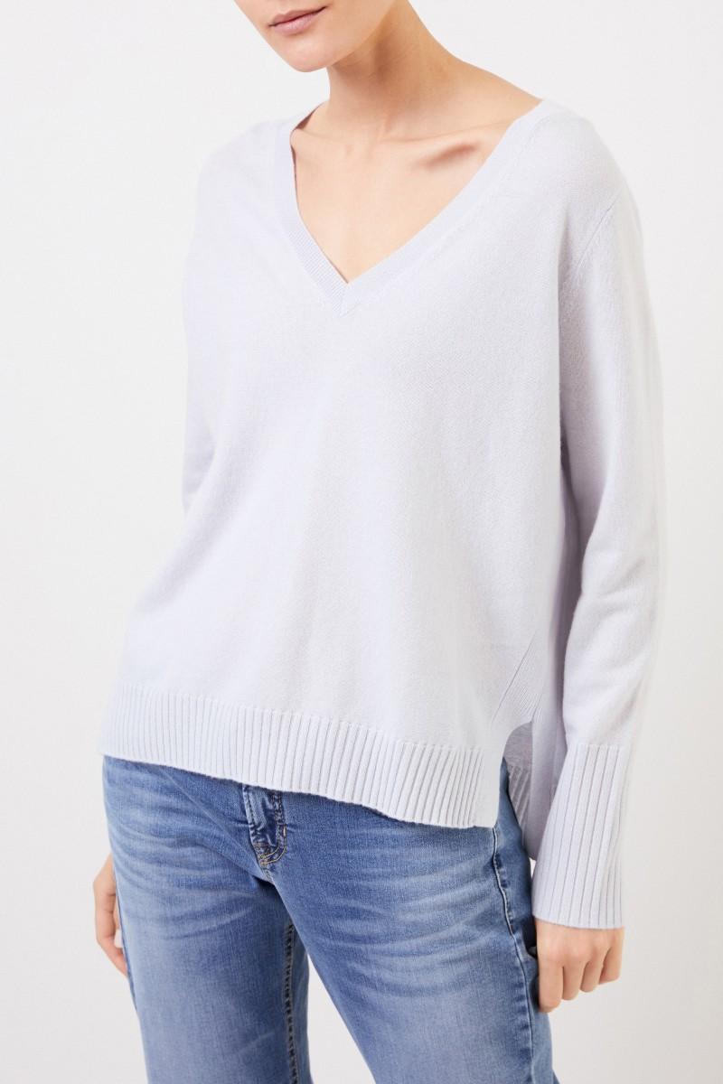 Allude V-Neck Cashmere-Pullover mit Schlitzen Hellblau